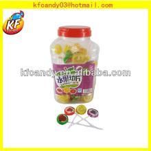 10g Good flavors handmade hard and round fruit shape long stick lollipops