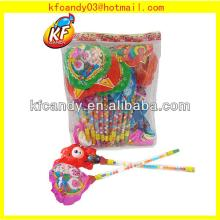 Funny plastic animal shaped design ballon toy with novelty whistle candy toy for kids