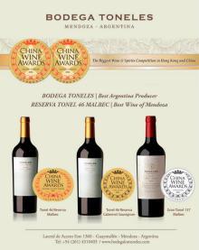 China Wine Awards Best Argentina wine, from Bodega Toneles