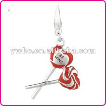 fashion red enamel be mine lollipops charm (H103253)