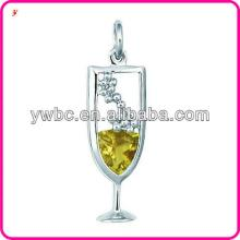 Top quality Silver Champagne Glass Charm jewelry
