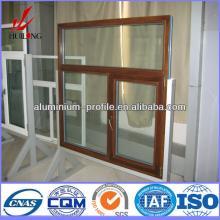anodized finish Champagne Wood Hot sale casement window aluminum profil
