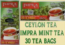 CEYLON  TEA  - 30 X  MINT   TEA  BAGS - IMPRA PURE BLACK  MINT   TEA  - STRONG FLAVOURED