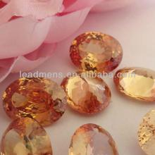 champagne European brilliant Oval cut spinel Cubic  Zirconia  cz stone synthetic Gemstone Beads LeadMe
