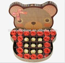 red soap rose  artificial  flowers with bear shaped gift box