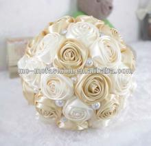champagne satin ribbon  flowers  for wedding