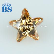 low price high quality champagne star shape cubic zirconia