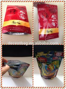 Stand up aluminum foil bag packaging for tea,clear plastic zipper tea bags