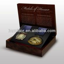Customized wooden medal box for two medals