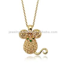Authentic Austrian champagne green crystal 18k gold plated mouse pendant necklace jewelry jewellery