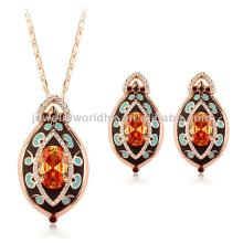 Authentic Austrian champagne crystal 18k gold plated eye of the heart pendant necklace earrings jewe