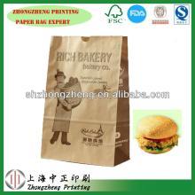 Green Hamburger  Brown   kraft   paper   bag  of FDA  Food  Grade With Window