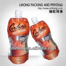 Beverage and wine bag with spout/Food packaging spout pouch for juice /liquid stand up pouch with sp
