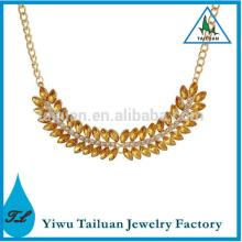 Champagne Crystal Leaf Shape Necklace