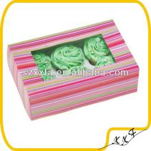 2014 eco friendly colorful stripped gift box cupcake packaging box with PVC window