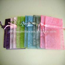 multicolor plain  organza   bag  with cosmetics for traveler