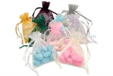 organza bags with candy,silk petals,chocolates,wedding favors