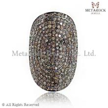 Micro Pave Champagne Diamond Rings , Wholesale Handmade Ring, Supplier 925 Sterling Silver Ring