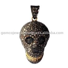 pave setting champagne diamond designer silver skull charm pendant Vintage style jewelry