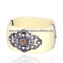 real champagne diamond studded designer bakelite cuff bangle gold handmade Victorian jewelry