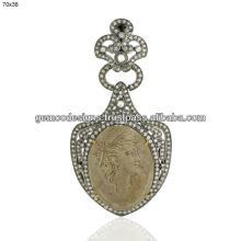 carved lava cameo gemstone Vintage pendant, round cut champagne diamond designer dangle pendant jewe