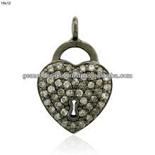 single cut champagne diamond heart shaped silver charm pendant jewelry