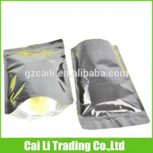 oem high quality standing up 3 layers laminated stand up tea bag with zipper
