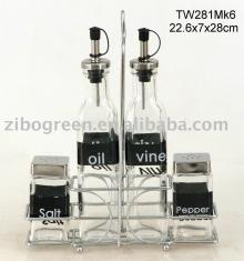TW281MK6 4pcs glass oil vinegar salt and pepper set with metal rack