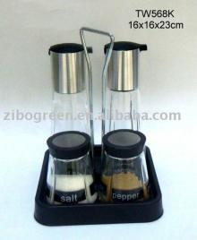 4pcs glass oil vinegar salt and pepper set with plastic stand (TW568K)