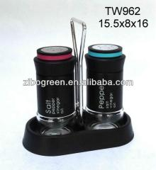 TW962 2pcs glass salt and pepper  spice   set  with metal casing and plastic stand