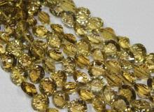 8 Inches - 9-13mm - Natural Champagne Quartz Concave Laser Cut Beads Strand - J-E000995