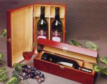 Vintage red 2-bottle wine box wood
