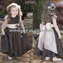 Cute Round Neckline Organza Sash Flower Decor Pleated Skirt Ankle Length Satin Cinderella Flower Gir