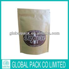 kraft paper coffee /tea bag with zipper/kraft paper stand up pouche