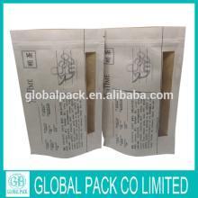custom made paper tea bag with window and zipper