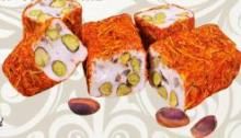 Turkish Delight  Cutting Fitil  with pistachio and milk flavor -oblong,uncut,saffron cover