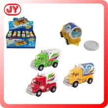 Plastic promotion surprise cartoon shaped car toy candy with 8g sugar