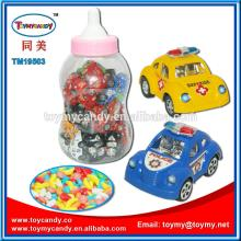 2014 cheapest price toy candy smallr  car  police  car  in big baby bottle promotion small candy toy