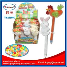 2015  women  s day gift Spanish easter chick and rabbit plush promotion toy pen with candy