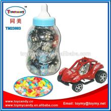 2014  cheap  small  plastic  toys from China mini racing car in big baby bottle as promation gift for ch