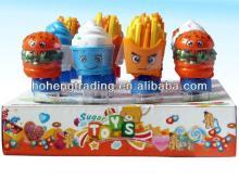 Promotional cany toys hamburger with tube