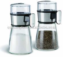 SINOGLASS 2pcs measurable cone shape glass salt and pepper set