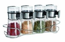 SINOGLASS 4pcs measurable cone shape salt and pepper  set  with stand