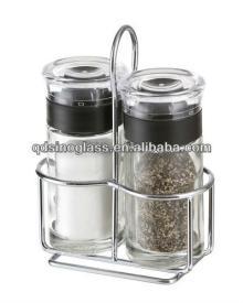 SINOGLASS 2pcs Glass Salt & Pepper Set with Rack