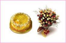 Cake & Flower Combo6 (1 KG)