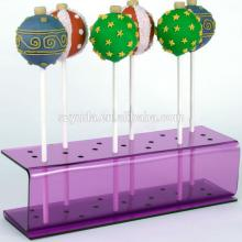 fashionable rectangular customized hole and tiers countertop clear  purple   lollipop  display stand who