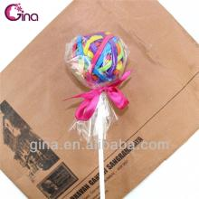 colorful round lollipop candy design 20pcs elastic hair band/metal knot hair  ring /  rubber  hair bands