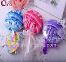colorful lollipop candy design 24pcs elastic hair band metal knot hair ring for girl