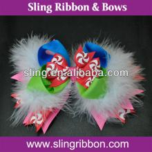 Lollipop Printed Ribbon White Feather  Hair  Clips