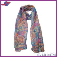 ROUND  COLORFUL LOLLIPOP PRINTED POLYESTER SCARF
